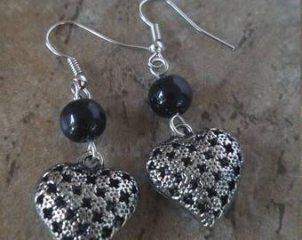 Hollow Heart Antique Silver Tone Earrings