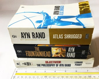 Vintage Ayn Rand Objectivism book lot. Atlas Shrugged. The Fountainhead. The Philosophy of Ayn Rand. Book lover gift.