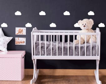 45 Mini White Clouds Nursery Wall Stickers
