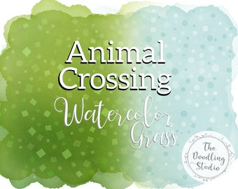Animal Crossing Watercolor Grass Backgrounds - Grass, dirt and snow - 12 png, transparent textures (Digital Download)