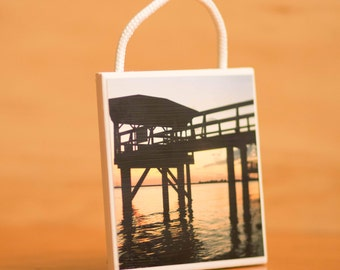 Ceramic Tile Wall Art, Dock on the River at Sunset, Home Decor, 4x4, 3/16 rope, Decorative displays, Tybee Island Georgia, hanging, beach