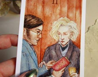 TWO of CUPS - Les Mis Tarot Card - Giclée Print