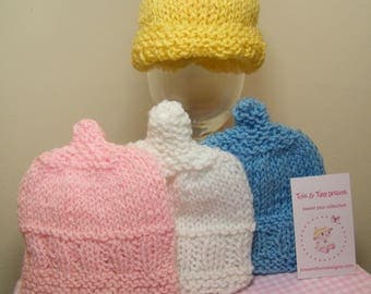 Baby knit hats/variety of colors pink/white/blue/yellow