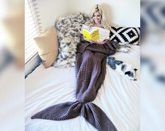 Handmade Purple Mermaid Tail Afghan Blanket
