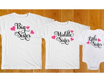 Big Middle Little Sister Swirl Hearts - Matching Sister Shirts - Big Sister Middle Sister Little Sister Hearts