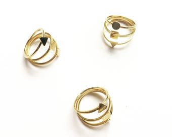 Mercury ring gold filled Triple geometric round square triangle pattern