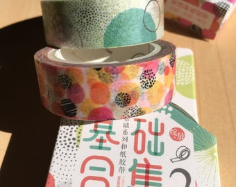 TWO Rolls of Washi Tapes/ Bright Lively Joyful Colors