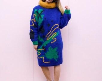 Vintage 80's Woven Mohair Jumper Dress