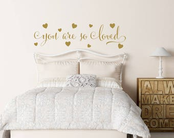You Are So Loved Wall Decal  Gold Wall Decal  Hearts Wall Decal  Nursery Part 85