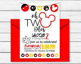 Mickey Mouse Birthday Invitation - Printable - Mickey Mouse Clubhouse Birthday Invitation - Two Years - Mickey Mouse Invitation – Custom