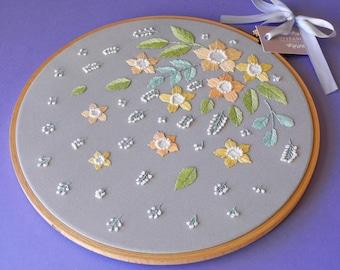 "10"", Hand embroidery, Contemporary wall art, Hoop Art Embroidery, Scandinavian Wall Decor, Embroidery Decor, Scandinavian wall art, Flowers"