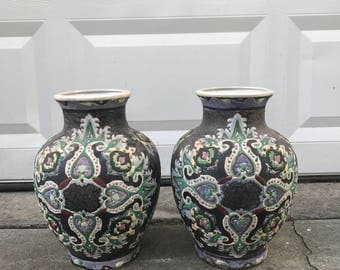 Pair of Volcanic Glazed Unique Ginger Jars - Eclectic Hand Crafted Design