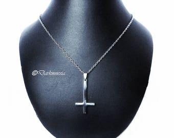 Necklace, inverted cross, gothic, goth, satanic, occult, satan, devil, satanism