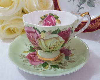 Queen Anne 'Lady Sylvia' Vintage Teacup Saucer Roses Mint Green Duo Set, England c1950+