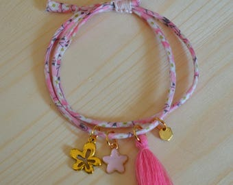 Liberty Pink Flowers by Manaka.lab cord bracelet