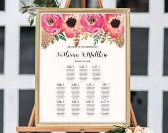 Wedding Seating Chart, Printable Seating Chart, Boho Chic, Floral Watercolor, Seating Chart Template, Seating Chart Sign