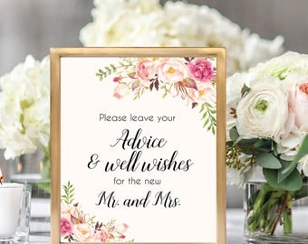 Advice And Well Wishes For The New Mr. And Mrs. Sign, Well Wishes Siign, Advice Sign, Well Wishes Printable, Printable Weddin Sign, #B512