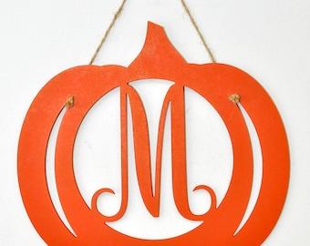 Pumpkin Monogram Door Hanger Wall Hanging for Fall