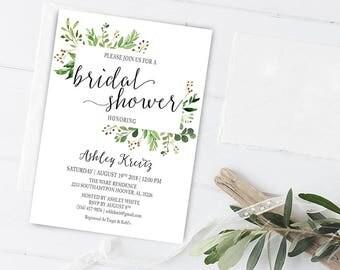 Watercolor Bridal Shower invitation, Bridal shower invitation, Rustic bridal shower invitation, Floral Bridal Shower - US_BI0503