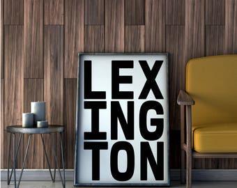 Lexington, Poster, Lexington Wall Art, Kentucky Art Print, Kentucky Home Decor, ky, Kentucky Wall Art, Lexington City Art, Lexington Decor