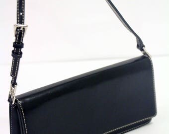 Liz Claiborne Black Clutch Bag Purse with Shoulder Strap