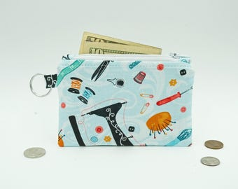 Sewing Accessories Coin Purse, Small Zipper Pouch Wallet, Change Wallet, Sewers Gift Change Purse, Small Zip Wallet for Sewing Lovers
