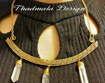 boho brass wires and rough quartz necklace