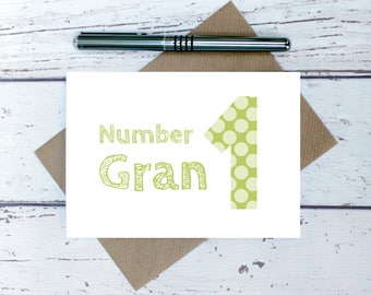 Number 1 gran card - cute Mother's Day Card for gran - gran mother's day card - gran birthday card - birthday card for gran - best gran card