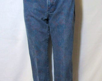 Vintage Lee Jeans 27/ 2-4 / High Waist / 1980s Tapered Leg/  80s Mom Jeans /Floral Print Jeans