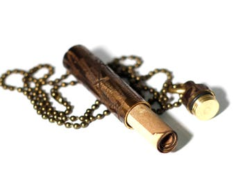 Heavily Distressed Brass Secret Stash Vial Capsule Pendant/Key-ring with Matching Necklace