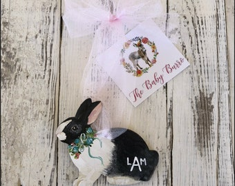 Black and White Bunny Diaper/Backpack/Luggage/Tag