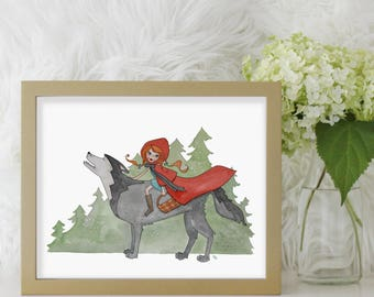 Little Red Riding Hood Art Print, Watercolor Fairy Tale Illustration, Childrens Room Nursery Decor, Red Riding Hood Painting, Kids Art Print