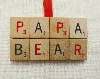 PAPA BEAR SCRABBLE magnet vintage tiles red black ornament father's day daddy papa baba word nerd words with friends