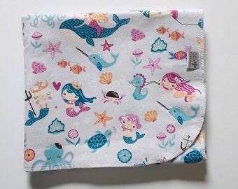 Pretty Mermaids Flannel Receiving Blanket; Baby Blanket; Flannel Blanket; Baby Girl Blanket; Pink Blanket
