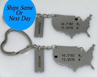 Best Friend Engraved Keychain, Best Friend Gift, Long Distance Friendship, Long Distance Keychain, Best Friend Keychain, Gift for Her
