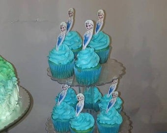 INSTANT DOWNLOAD Disney Frozen Ana and Elsa Cupcake Toppers