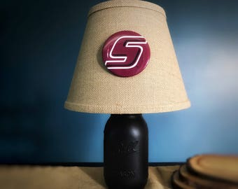Southern Illinois University Lamp, SIU Lamp, Mason Jar Lamp, Dorm Lamp, College Lamp, Desk Lamp, Graduation Gift, SIU Decor, Saluki Decor