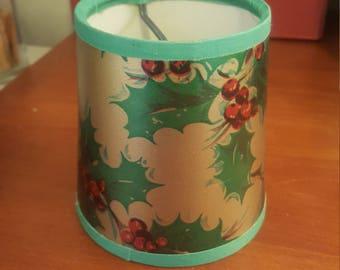 Vintage Christmas Poinsettia small lampshade.