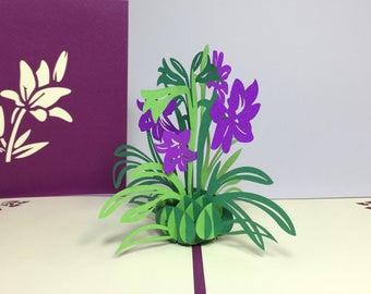 Lily Flowers - 3D Pop Up Flower Birthday Card - 3D Pop Up Lily Birthday Card - Pop Up Floral Thank You Card - Get Well Card - Good Luck Card