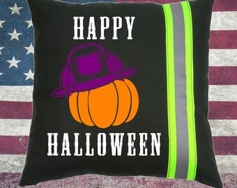 Halloween Firefighter BLACK Pillow with Pumpkin and Fireman Helmet