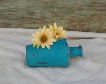 Distressed Bottle/ Vintage Soap Bottle/ Upcycled Bottle/Shabby Chic/ Teal Rustic Decor