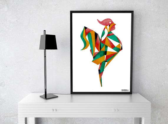 Origami Rooster| Wall art | Archival paper poster | Watercolor art | Origami | Wall art decor | ZuskaArt