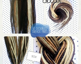 AVAILABLE now! 60 double Dreads. Fine, 50cm. Platinum blonde, honey, walnut, chestnut, chocolate. Dreadlocks. Dreadovore
