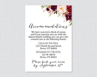 Printable OR Printed Wedding Accommodation Cards - Marsala Floral Accommodation Inserts - Rustic Pink Flower Hotel Details Insert Cards 0006