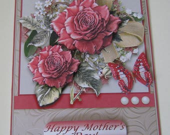 3D Decoupage Red Roses and Butterfly Mother's Day Card, Happy Birthday,Thinking Of You, Best Wishes, With Love