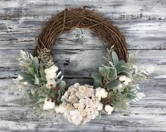 Spring Wreath, Spring Decor, Summer Wreath, Mother's Day Gift, Wedding Decor, Front Door Wreath, Farmhouse Wreath, Wreath