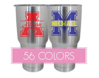 Varsity Monogram Tumbler Decals, Monogram Tumbler Decals, Varsity Tumbler Decals, Monogram Tumbler Stickers, Custom Decals, Custom Stickers