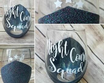 Night court squad wine glass, ACOTAR, ACOWAR, ACOMAF, Sarah J. Maas inspired, Velaris, Starfall, Bookish item, Bookstagram, Acofas, rhysand