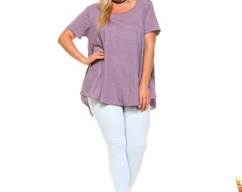 Women's Plus Size Lavender Flowy Tunic, High Low Top, Short Sleeve, Flowy, Ladies Swing Tunic, Plus Size Tunic,  XL 1X 2X 3X - Made in USA