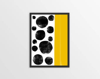 Print Abstract - Geometric Art - Art printable - Abstract Art - Yellow -  Black - Modern Art - Digital Art Download - Contemporary Art